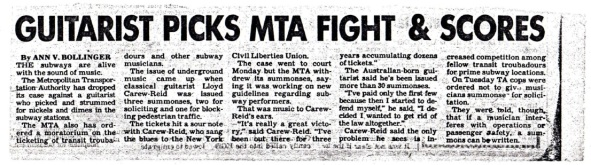 Carew-Reid in NY Post, 1987